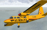 Screenshot of Aurigny Britten-Norman Islander in flight.