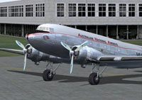 Screenshot of Australian National Airways DC-3 on the ground.