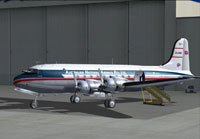 Screenshot of Australian National Airways DC-4 in the hangar.