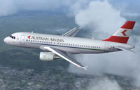 Screenshot of Austrian Airlines Airbus A319 in flight.