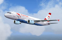 Screenshot of Austrian Airlines Airbus A320 in flight.