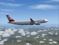 Screenshot of Austrian Airlines Airbus A330-200 in the air.