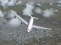 Screenshot of Austrian Airlines Airbus A340-200 in flight.