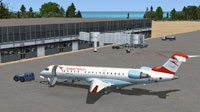 Screenshot of Austrian Airlines CRJ-700 on the ground.