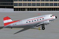 Screenshot of Austrian Airlines Douglas DC-3 on the ground.