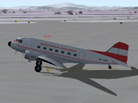 Screenshot of Austrian Airlines Douglas DC-3D on the ground.