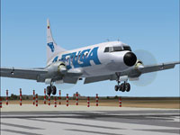 Screenshot of Avensa Convair CV-580 landing on runway.