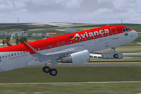 Screenshot of Avianca Brazil Airbus A320 taking off.