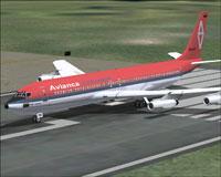 Screenshot of Avianca Colombia Boeing 707-320 on runway.