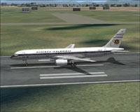 Screenshot of Avianca Colombia Boeing 757-200 on runway.
