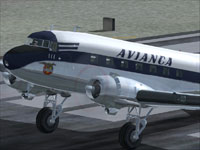Close up of Avianca Douglas DC-3 on runway.
