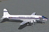 Screenshot of Avianca Douglas DC-4 on the ground.