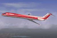 Screenshot of Avianca McDonnell Douglas MD-83 in flight.