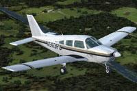 Screenshot of Aviator College Piper PA-28 Warrior in flight.