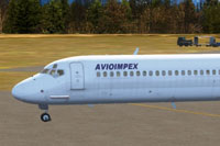 Screenshot of Avioimpex McDonnell Douglas MD-81 on the ground.