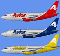 Image showing three different liveries for the Avior Airlines Boeing 737-200.