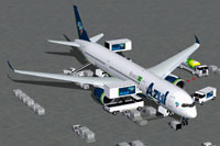 Screenshot of Azul Airbus A350-900 with the ground services.