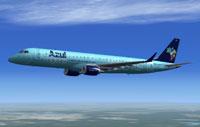 Screenshot of Azul Embraer E-195LR in flight.