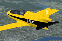 Screenshot of BD-5 C-FGXC in flight.
