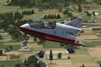 Screenshot of red and white BD-5 Microjet in flight.
