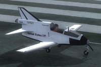 Screenshot of BD-5J Shuttle on runway.