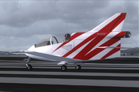 Screenshot of red striped BD-5J on runway.