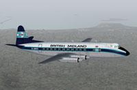 Screenshot of BMA Viscount 814 in flight.