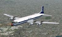 Screenshot of BOAC DC-7C in flight.