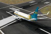 Screenshot of Bahamas Air Boeing 737-800 on runway.
