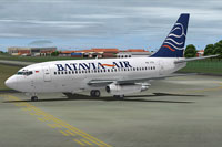 Screenshot of Batavia Air Boeing 737-200 taxiing to runway.