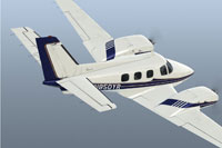 Screenshot of Beech B60 Duke N850YR in flight.