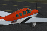 Screenshot of Beechcraft A36 Bonanza N210MS taxiing to runway.