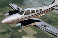 Screenshot of Beechcraft B58 Baron PR-BSC in flight.