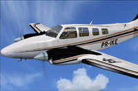 Screenshot of Beechcraft B58 Baron PR-IKE in flight.