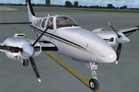 Screenshot of Beechcraft B58 Baron PT-FJW on runway.