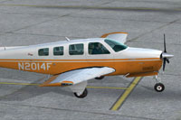 Screenshot of Beechcraft Bonanza N2014F on the ground.
