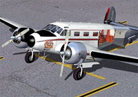 Screenshot of Beechcraft D18S on the ground with an open cargo hold.