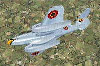 Screenshot of Belgian Gloster Meteor F4 in flight.