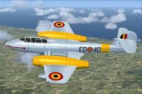 Screenshot of Belgian Gloster Meteor T7 in flight.