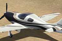 Screenshot of black and gold Lancair Legacy N323DE.