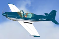 Screenshot of a blue and white Falco F8L in flight.