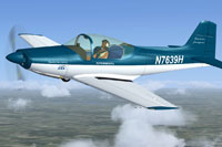 Screenshot of a blue and white Falco F8L in flight.