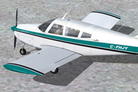 Screenshot of blue and white Piper Arrow with black trim.