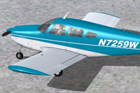 Screenshot of blue and white Piper Arrow on the ground.