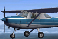 Screenshot of blue Cessna 152 in the air.