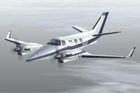 Screenshot of blue and gold Beechcraft Duke in flight.