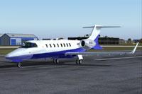 Screenshot of a blue Learjet 45 on runway.
