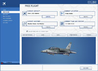 Screenshot of the Free Flight Menu with the new blue user interface.