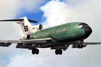 """Screenshot of """"Jelleybean Green"""" Braniff Boeing 727-100 in flight."""