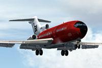 "Screenshot of ""Jellybean Red"" Braniff Boeing 727-100 in flight."